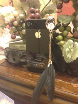 Luxury Mask Style With Feather Dustproof Anti Dust Plugs Cap Earphone Jack 3.5mm image 2