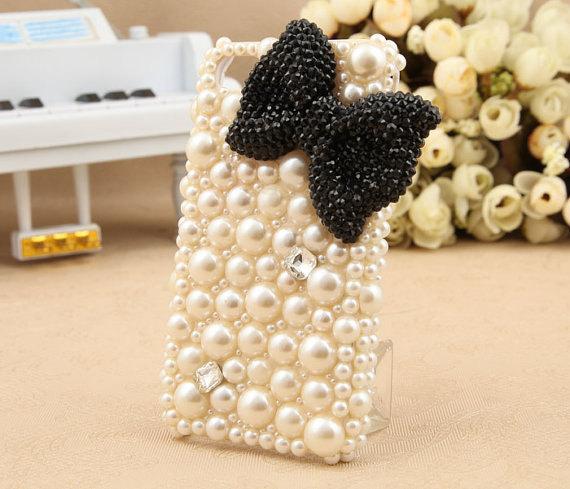 3D Bling Luxury handmade BLACK Crystal diamond  Bow Tie Pearl White hard cover C