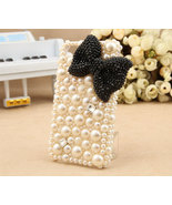 3D Bling Luxury handmade BLACK Crystal diamond  Bow Tie Pearl White hard... - $18.99