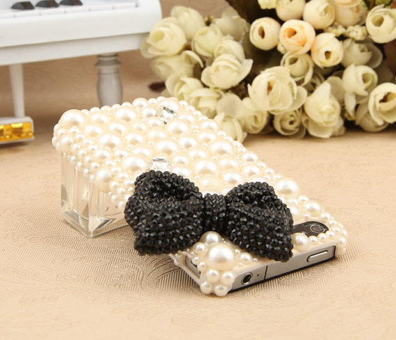 3D Bling Luxury handmade BLACK Crystal diamond  Bow Tie Pearl White hard cover C image 2