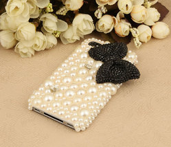 3D Bling Luxury handmade BLACK Crystal diamond  Bow Tie Pearl White hard cover C image 3