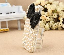 3D Bling Luxury handmade BLACK Crystal diamond  Bow Tie Pearl White hard cover C image 4