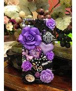 3D Bling Luxury Handmade Purple Crystal Diamond  Bow Tie Pearl Black  Ha... - $16.99