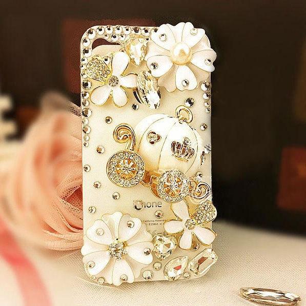 3D Luxury Bling Crystal Cinderella's Pumpkin Cart Stone Case For iphone 4/4s/5 b