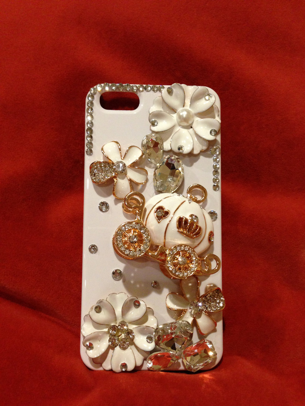 3D Luxury Bling Crystal Cinderella's Pumpkin Cart Stone Case For iphone 4/4s/5 b image 2