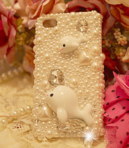 3D Luxury Diamond Crystal White Pearl Dolphin Case For iphone 4/4s/5 Very Cute a