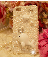 3D Luxury Diamond Crystal White Pearl Dolphin Case For iphone 4/4s/5 Ver... - $23.99