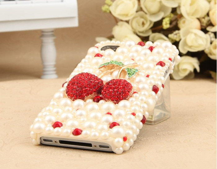 3D Luxury White Pearl Red Cherry Case For iphone 4/4s/5 Very Cute and Beautiful
