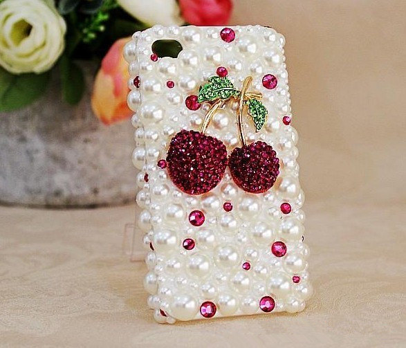 3D Luxury White Pearl Red Cherry Case For iphone 4/4s/5 Very Cute and Beautiful  image 2