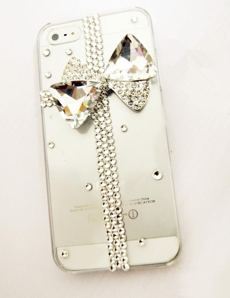 3D Luxury Bling Crystal Diamond Cross Bow Knot Clear Case For iphone 4 4S 5 Very
