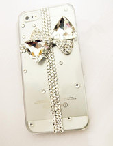 3D Luxury Bling Crystal Diamond Cross Bow Knot Clear Case For iphone 4 4S 5 Very image 1