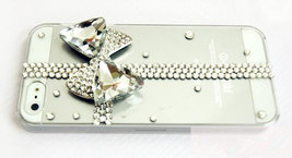 3D Luxury Bling Crystal Diamond Cross Bow Knot Clear Case For iphone 4 4S 5 Very image 2