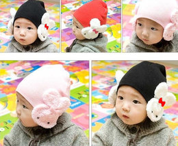 Lovely Cute Baby Hat With White Rabbits On The Side 100% Cotton Very Soft and Co image 1