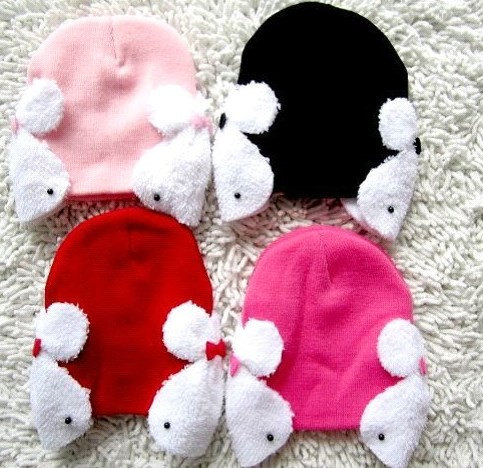 Lovely Cute Baby Hat With White Rabbits On The Side 100% Cotton Very Soft and Co image 2
