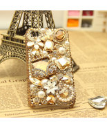 3D Luxury Bling Diamond Crystals Pearls Golden Purse Case For iPhone SE ... - $19.99