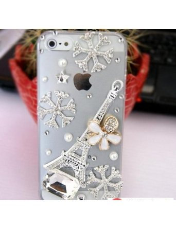 3D Luxury Bling Crystal Diamond Snowflake Tower Clear Case For iphone 5 Very Cut