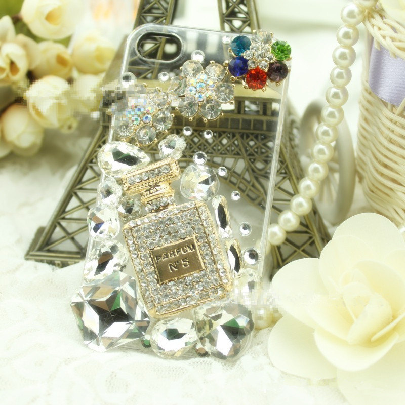 3D Luxury Bling Diamond Crystal Perfume Parfum with Flowers Clear Case For iphon