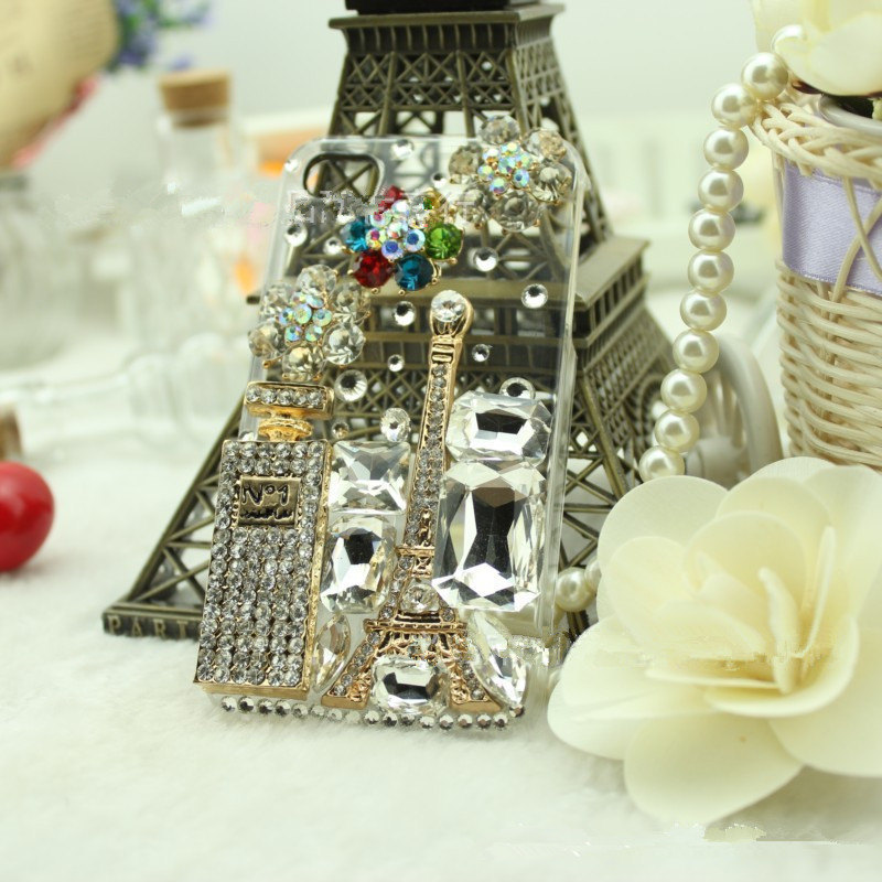 3D Luxury Bling Diamond Crystal Perfume Parfum with Tower and Flowers Clear Case