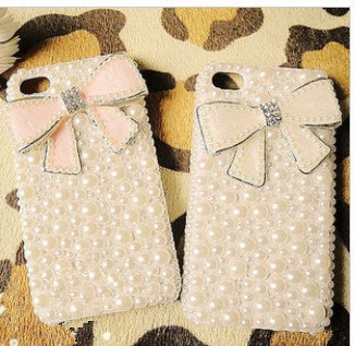 3D Luxury Bling Crystal Diamond PINK or WHITE Bow Tie Pearl White Back Cover Har