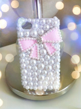 3D Luxury Bling Crystal Diamond PINK or WHITE Bow Tie Pearl White Back Cover Har image 2