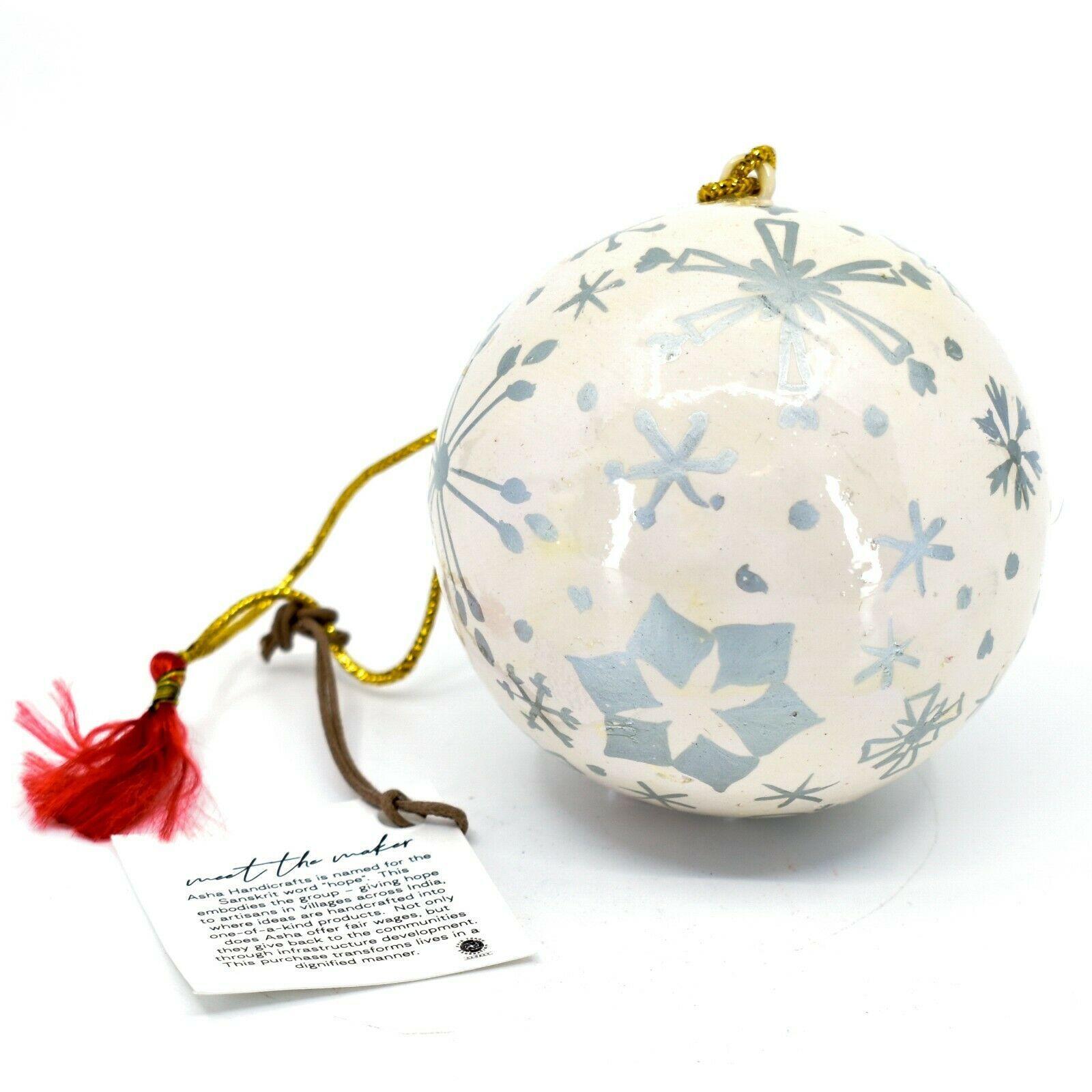 Asha Handicrafts Painted Papier-Mâché Silver Snowflakes Christmas Ornament