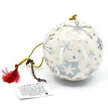 Asha Handicrafts Painted Papier-Mâché Silver Snowflakes Christmas Ornament image 1
