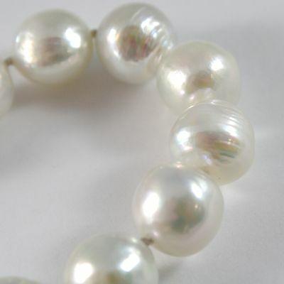 Bracelet or Blanc 750 18k, Fil de Perles Blanches Diamètre 12 mm, Long 20 Cm