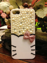 3D Bling Luxury handmade  Kitty Face Crystal diamond  Bow Tie Pearl White/Black  image 4