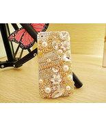 3D Luxury Bling Diamond Crystals Handbag Purse Pearl Flowers Clear Case ... - $24.99