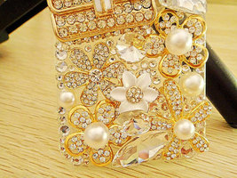3D Luxury Bling Diamond Crystals Handbag Purse Pearl Flowers Clear Case For ipho image 2