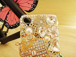 3D Luxury Bling Diamond Crystals Handbag Purse Pearl Flowers Clear Case For ipho image 3