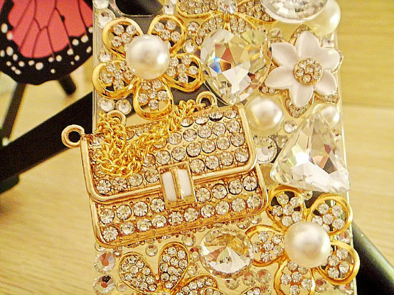3D Luxury Bling Diamond Crystals Handbag Purse Pearl Flowers Clear Case For ipho image 4