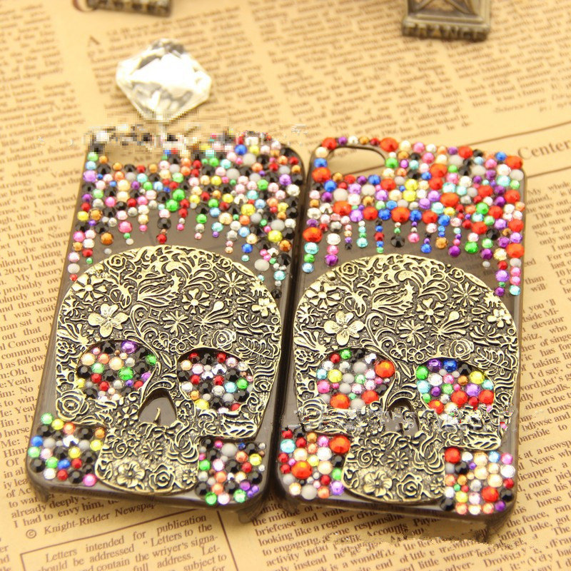 Luxury Bling Colorful Crystals Vintage Skull Smoke Case For iPhone SE 5 5S