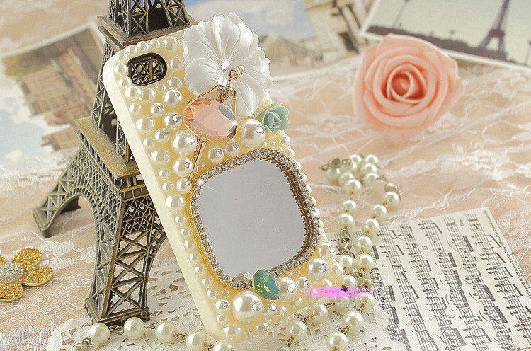 3D Luxury Pearls White Flower Glass Mirror High Quality White Case For iphone 4/