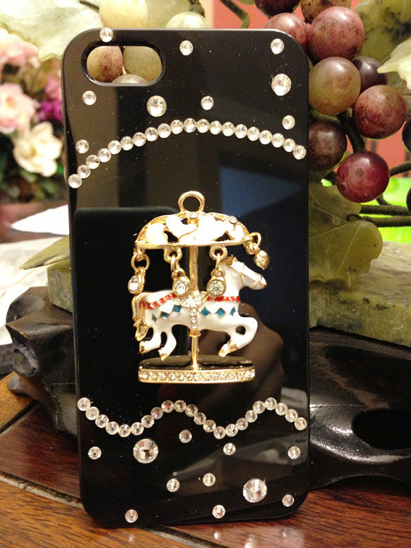 3D Luxury Bling Diamond Crystal Carousel Horse Black Case For iphone 5 Very Beau