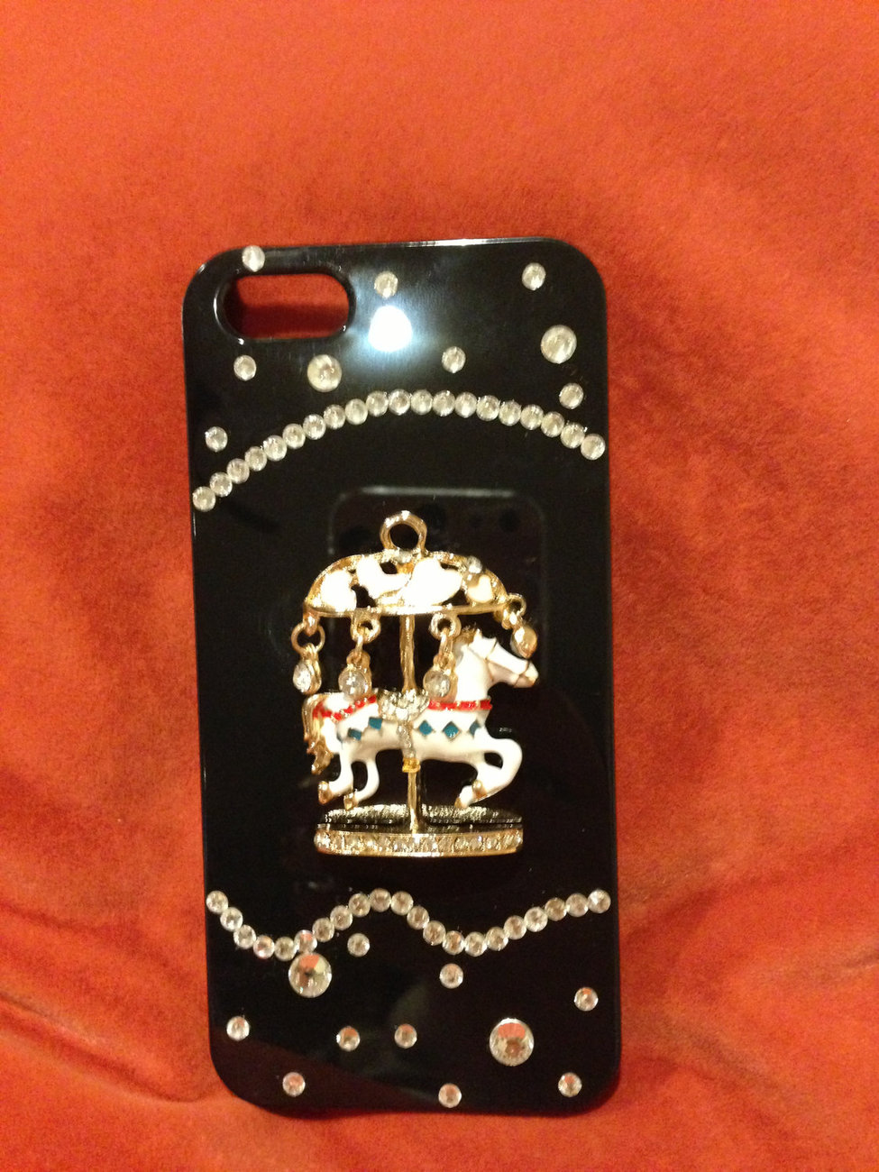 3D Luxury Bling Diamond Crystal Carousel Horse Black Case For iphone 5 Very Beau image 2