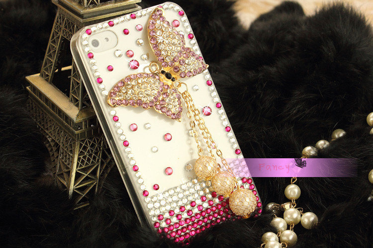 3D Luxury Bling Diamond Crystal Butterfly Clear Case For iphone 5 Very Beautiful