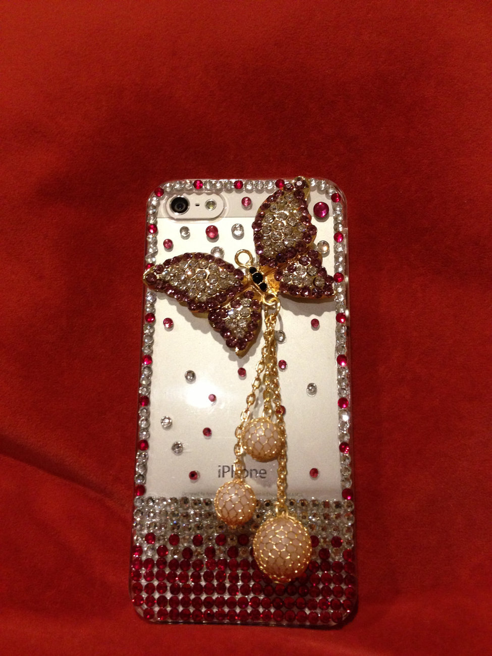 3D Luxury Bling Diamond Crystal Butterfly Clear Case For iphone 5 Very Beautiful image 2