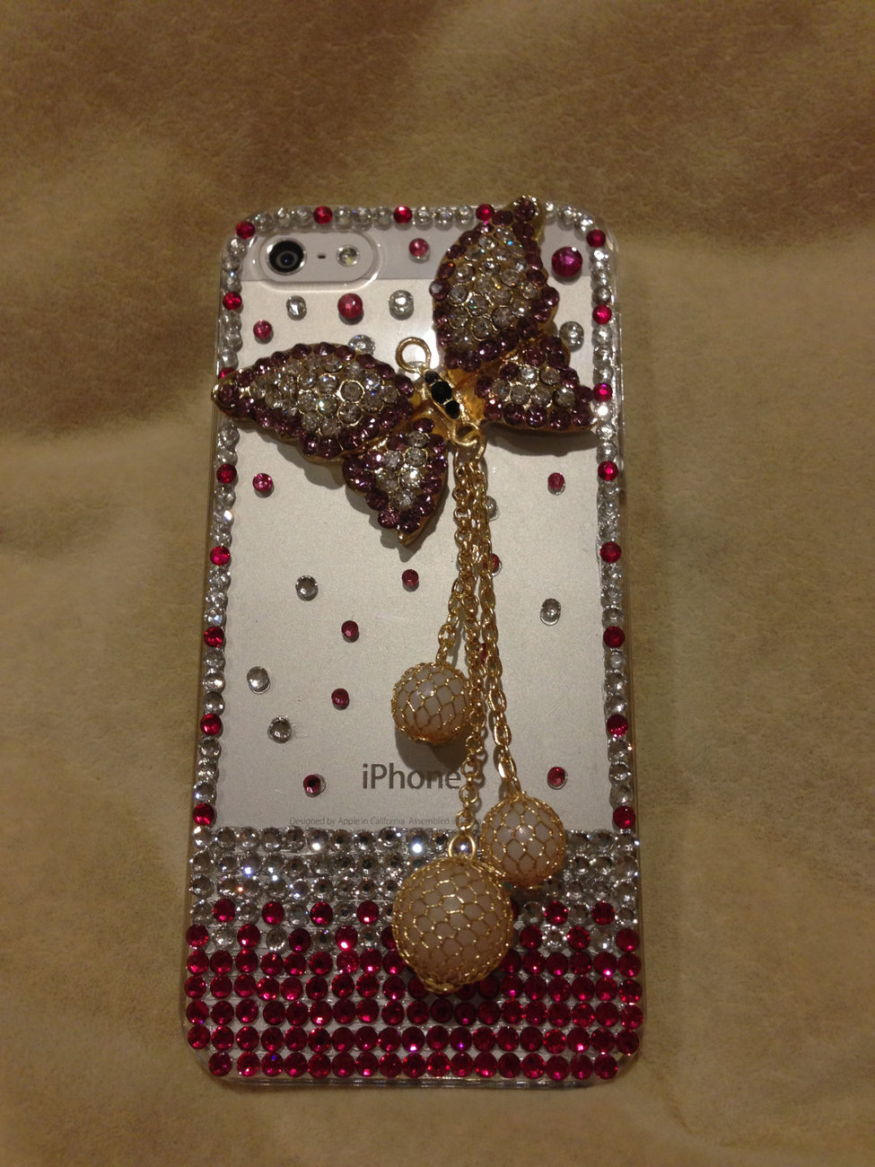 3D Luxury Bling Diamond Crystal Butterfly Clear Case For iphone 5 Very Beautiful image 4