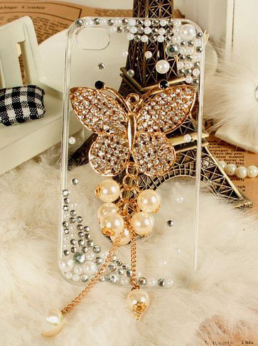 Luxury 3D IPHONE 4 4S Butterfly Crystal Bling Diamond Pearl Clear Cover Case