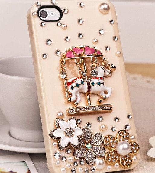 3D Luxury handmade Crystal Diamond Carousel Horse Flower White Bling Hard Case F