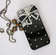Luxury 3D Handmade Crystal diamond Bow Tie Bow Knot Black Hard Cover Case for iP image 1