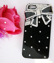 Luxury 3D Handmade Crystal diamond Bow Tie Bow Knot Black Hard Cover Case for iP image 2
