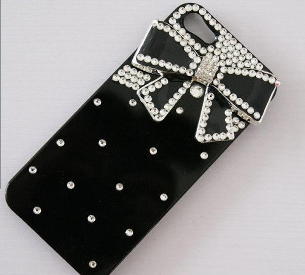 Luxury 3D Handmade Crystal diamond Bow Tie Bow Knot Black Hard Cover Case for iP image 3