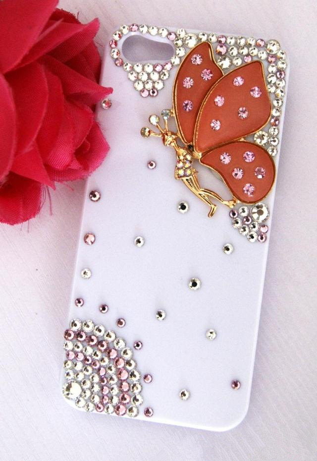 iPhone 5 Luxury 3D Handmade Crystal Butterfly White Hard Cover Case High Quality