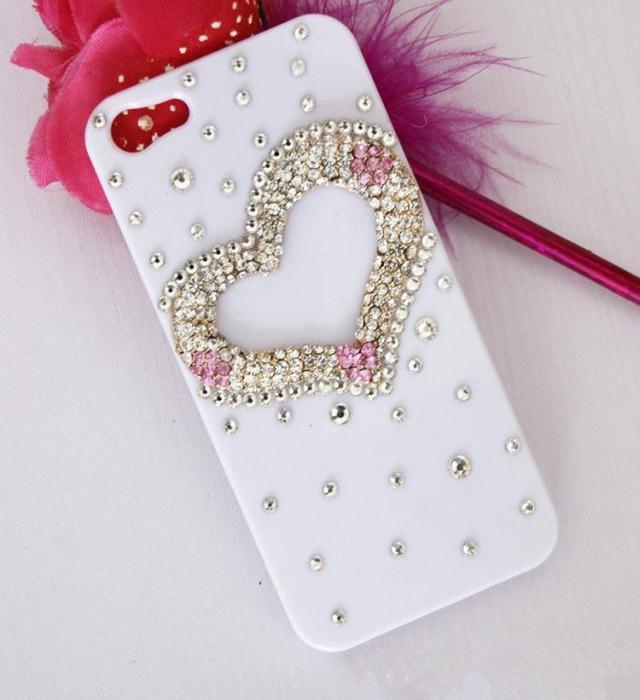 iPhone 5 Luxury 3D Handmade Crystal Lover's Heart White Hard Cover Case High Qua