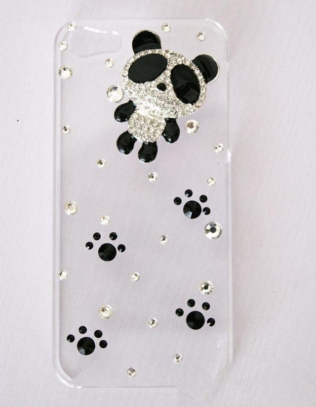 iPhone 5 Luxury 3D Handmade Crystal Panda Foot Steps Clear Hard Cover Case High