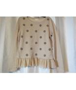 NWT Maison Jules Long Sleeve Sweater Taupe W/ Ruffled Bottom Sz Large Or... - $22.79