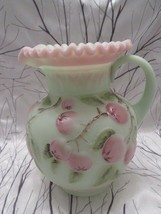 FENTON ART GLASS 2003 LOTUS MIST BURMESE APPLE TREE PITCHER MIB - $145.00