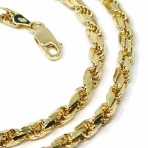 """18K YELLOW GOLD CHAIN NECKLACE 4 MM BIG DIAMOND CUT SQUARE ROPE LINK, 19.70"""" image 2"""